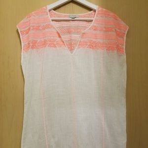 J.Crew Neon Pink Embroidered Linen Tunic